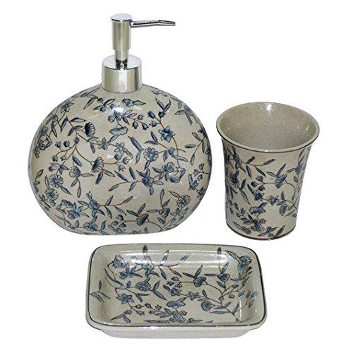 Better & Best 1394250 - Juego de baño de porcelana de 3 piezas, con decoración de flores azules: dispensador de jabón líquido, vaso y jabonera