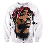 SU Kleidung Tupac Sweatshirt Hip Hop Jersey Jumper 3D Print 2Pac Pullover Men and Women Couple Sweater,L