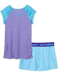 New Balance Little Girls' Short Sleeve Raglan Performance T-Shirt and Short Set, Flutter/White Heather, Bayside/Titan, 4