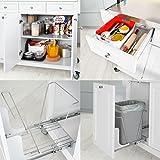 SoBuy® FKW33-W Neu Luxus-Küchenwagen mit Edelstahlplatte, Küchenschrank, Kücheninsel,Servierwagen, Rollwagen, mit Ablage für Mülleimer, Abfalleimer - 5