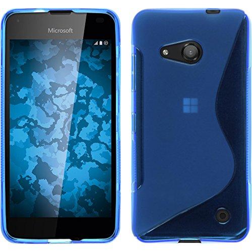 PhoneNatic Case kompatibel mit Microsoft Lumia 550 - blau Silikon Hülle S-Style + 2 Schutzfolien