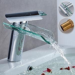 Auralum® Griferias de cristal,Grifo de lavabo, Cascada Grifo, Grifo mezclador, Monomando, Grifo de fregadero, baño y cocina, grifo con cromo superior, con el diseño moderno, el estilo contemporáneo