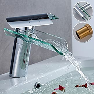 Auralum®Griferias de cristal,Grifo de lavabo, Cascada Grifo, Grifo mezclador, Monomando, Grifo de fregadero, baño y cocina, grifo con cromo superior, con el diseño moderno, el estilo contemporáneo