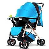 REMTI Kinderwagen 01-3-jährige Baby-Laufkatze-tragbarer faltender sitzender liegender Fallschirm-neugeborenes Baby-Baby vier fahrbare Kinderwagen, blau