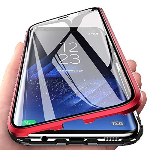 Eabhulie Galaxy S8 Plus Hülle, Vollbildabdeckung Gehärtetem Glas mit Magnetischer Adsorptionskasten Metall Rahmen 360 Grad Komplett Schutzhülle für Samsung Galaxy S8 Plus Rot Schwarz Handy-rahmen