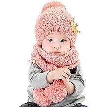 Vimeet Baby Kinder Winter Warm Gestrickter Mütze Schal Sets Beanie Strickmütze Wintermützen Earflap Hut Kappe Schnee Hut Kaiserkrone