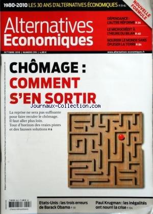 ALTERNATIVES ECONOMIQUES [No 295] du 01/10/2010 - ...