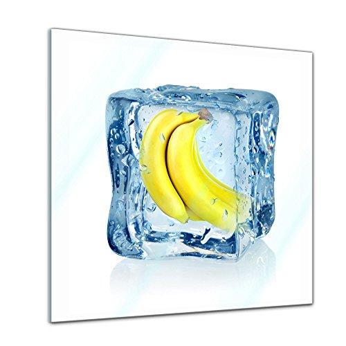 Glasbild - Eiswürfel Banane - 20x20 cm - Deko Glas - Wandbild aus Glas - Bild auf Glas - Moderne Glasbilder - Glasfoto - Echtglas - kein Acryl - Handmade