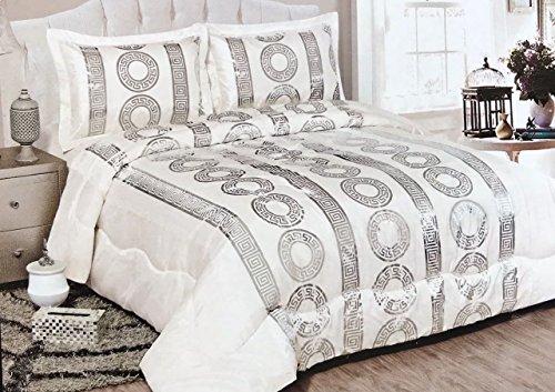 Bavary Medusa Versac Tagesdecken Set 3 TLG. Elegant und Stillvoll Neuheit und Luxus (Weiß/Silber)