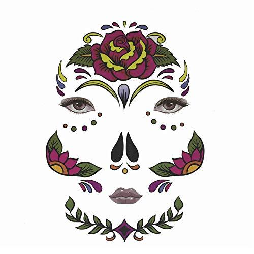 XINAINI Tattoo Gesicht Festival Glitter,Halloween TemporäRe Gesichtskunst, wasserdichte Maske, SchäDel TäTowierungs SchöNheits Aufkleber Augenbraue Gesicht (Kinder Schädel Ninja Kostüm)