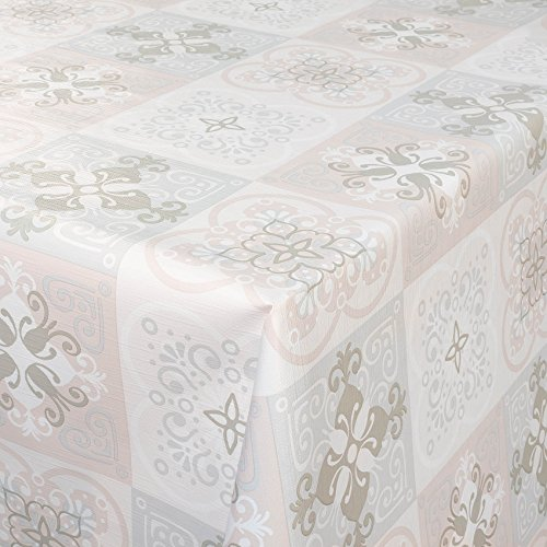 Tischdecke abwaschbar Wachstuchdecke Wachstuch Wachstuchtischdecke Antik Fliesen Barock Hellgrau...