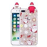 HUDDU Karikatur Motiv iPhone 7 Plus Case Cover Durchsichtig TPU Silikon Handyhülle Schutzhülle Back Etui Schale Schutz Hülle Kompatibel mit Apple iPhone 7 Plus/8 Plus Kinder - Weihnachtsmann