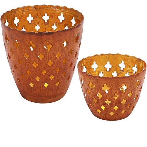 2er Set Orientalisches Windlicht Laterne orientalisch Mateo Groß | Orientalische Vintage Teelichthalter Rostfarben innen Rostbraun außen | Marokkanische Windlichter aus Metall als Dekoration