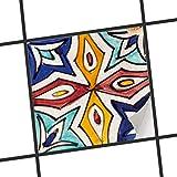 creatisto Dekofolie Fliesen aufkleben   Muster-Fliesenfolie Badezimmerfliesen Küchengestaltung   15x15 cm Muster Ornament Spanish Tile 4-1 Stück