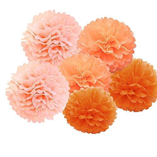 B-Shine Seidenpapier Pompoms Pompons 15er schöne Dekor für Geburtstag Hochzeitsfest Babyshower Party Wohnungdeko (Orange Set)
