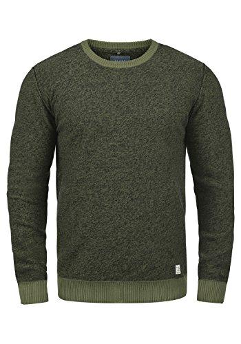 Blend Nathan Herren Strickpullover Feinstrick Pullover Mit Rundhals Und Melierung Aus 100% Baumwolle, Größe:L, Farbe:Burnt Olive (77011)