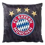 FC Bayern München Kissen, Plüschkissen schwarz Logo FCB - Plus gratis Lesezeichen I Love München
