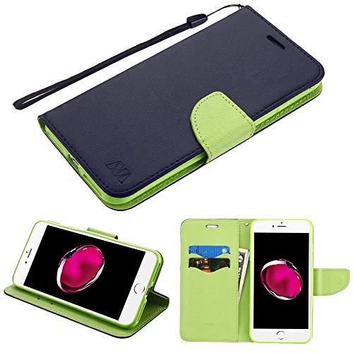 Schutzhülle + Tempered_Glas + Stylus, passend für Apple iPhone 7 Plus/8 Plus (auch für iPhone 6 Plus/6S Plus) MYBAT PU Leder Clutch Hülle mit Kartenfächern und Gurt Dunkelblaues Muster/grüner Einsatz - Sprint Phones 6 Plus Iphone Cell