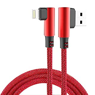 Hemore USB Charging Cable 90 Degree Charger Cable Data Sync Charging Cord for iPhone Type-C Data Cable Red 1PC