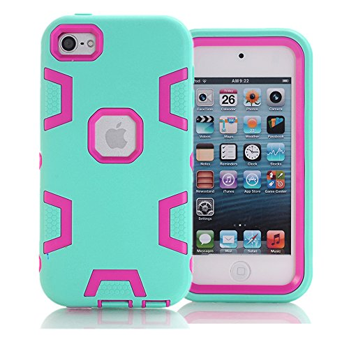 KAMII iPod Touch 6. Generation Fall, iPod Touch 6 Fall, 3 in1 Hybrid Combo Heavy Duty Defender Rugged stoßfest schmutzdicht Case Cover für Apple iPod Touch 6, Aqua+Rose (3 Camo Ipod Fällen)