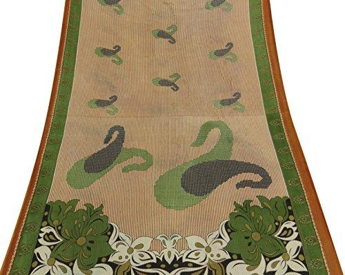 Jahrgang Indien reine Baumwolle Saree weiße Paisley gedruckte benutzte Sari Fertigkeit-Gewebe 5YD (Paisley Sari)