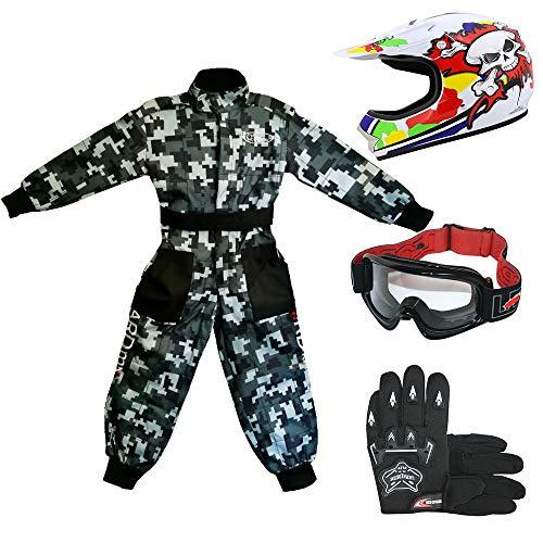 Leopard LEO-X18 Casco de Motocross para Niños y Gafas y Guantes +...