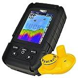 LUCKY Aufladbarer farbiger LCD-Fischfinder-Verzeichnis-Detektor-Detektor 100m (328ft) drahtloser Sonar-Sensor u. 45M (145ft) Tiefe Abdeckung, Fisch-u. Tiefen-Warnung, Wassertemperatur ° C oder ° F.