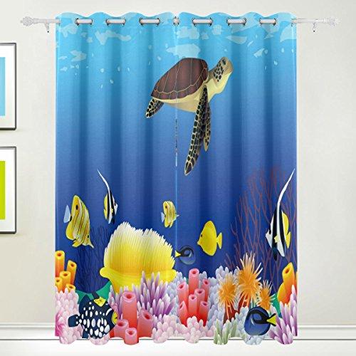 Fenster Vorhang, 2Felder Luxus Sealife Fisch, Print Thermo-Isoliert Dicke Polyester-Blackout-Home Decor mit Öse für Schlafzimmer Wohnzimmer Badezimmer Küche 213,4x 139,7cm -