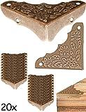FUXXER® -20x Antik Möbel Ecken | Beschläge, Eck-Schützer, Kanten-Schutz für Kisten Boxen Möbel Regal Tisch | Vintage Messing Antik Optik | 20er Set