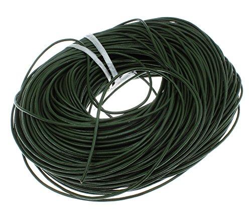 Preisvergleich Produktbild LEDERBAND 2mm LEDERSCHNUR Grün 2,5m RINDLEDER RUND LEDER SCHMUCK C145