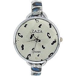 Zaza London Black & Blue Leopard Design Silver Dial Ladies Fashion Watch LLB872