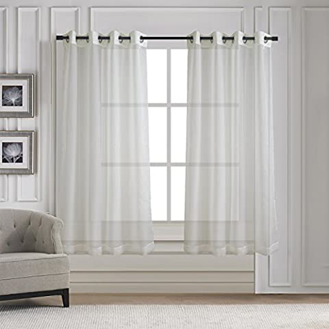 Voile Vorhang mit Ösen transparent - Aquazolax 2 Stücke unifarbene lichtdurchlässig Gardinen Fensterschal Vorhänge Breite 137cm x Länge 160cm,2er-Set,Ivory