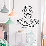 yiyiyaya Fun Yoga Fille Stickers Muraux Personnalisé Créatif pour Les Chambres...