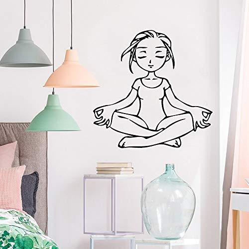 yiyiyaya Spaß Yoga mädchen wandaufkleber personalisierte kreative für kinderzimmer Dekoration DIY PVC Dekoration zubehör l 43 cm x 43 cm
