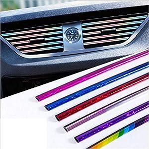 10 Stück Auto Lüftungsschlitz Auslassleiste, Auto Styling Lüftungsgitter Auslass Zierleiste Leiste Innenverkleidung Dekoration (Mixed color)