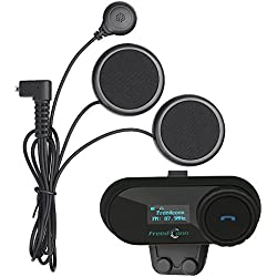Freedconn TCOM-SC Moto Intercom Oreillette Bluetooth Casque de Moto Interphone intercom headsets avec GPS, Radio FM, Ecran LED (1 pièce avec étiquette Douce)