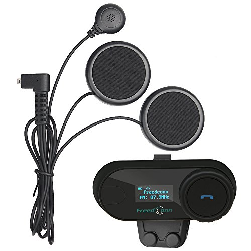 FreedConn Moto Motocicletta Casco Bluetooth TCOMSC Intercom Interphone Citofono Interfono Auricolare Walkie Talkie Microfono Equitazione Sciare (Pantalla LCD/FM/GPS/MP3/Impermeabile/1 pcs Soft Cable)
