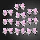 10stk. 3D Nagelstudio Nagelsticker Bow Nailart Sticker Rosa Metall Strass Schmetterling