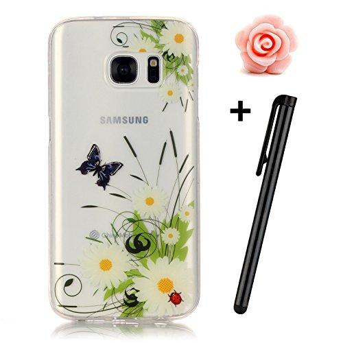 Preisvergleich Produktbild Samsung Galaxy S7 Hülle,Samsung Galaxy S7 Case,TOYYM TPU Hülle Schutzhülle Crystal Case Silikon Transparent Hülle Schmetterling und Wiese Muster Anti-Kratz Zurück Case Cover für Samsung Galaxy S7