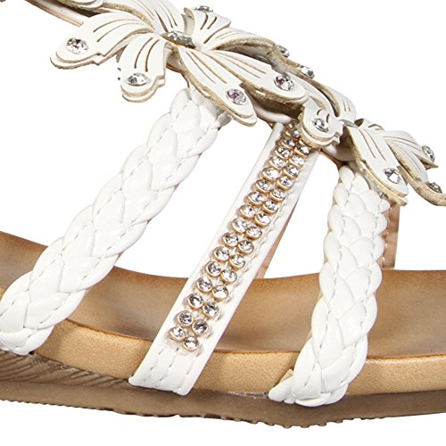 donne Gladiatore Strappy sandali estivi abito da sera party shoe diamante fiore floreale spiaggia chiusura a fibbia casual sandali tacco basso Mid scarpe White