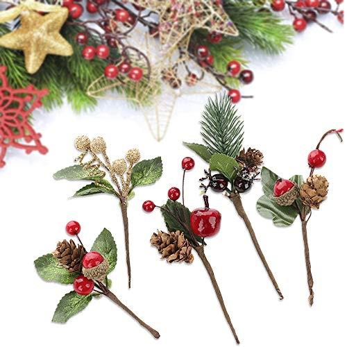 Sureh, rami di pino artificiale con foglie verdi, decorazione su filo per albero di natale, ghirlande, fiori, fai da te, biglietti di auguri e fiori, 20 pezzi