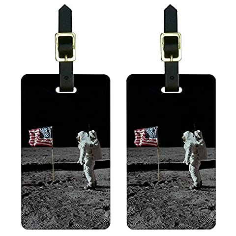Graphics & More Astronaut Moon Landing 1969 American Flag Luggage Tags Suitcase Id, White