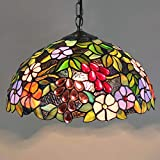 ZIXUAA Lampade a Sospensione Tiffany Style Lampade a Sospensione Vintage in Vetro colorato Rosa Rossa per lampadari Bar Ristorante