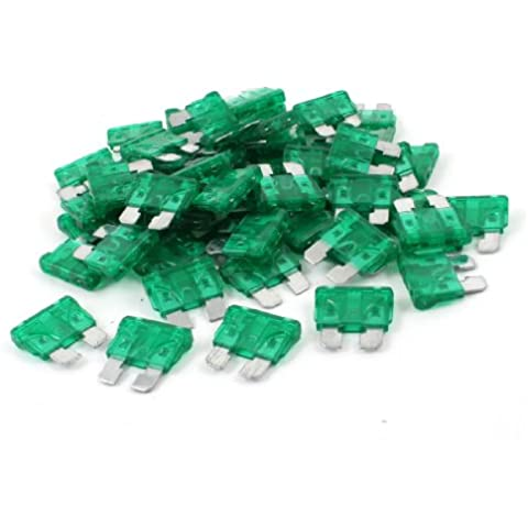 Sourcingmap a13071500ux0104 - 60pcs claras las mini 30a fusibles de cuchilla verdes fijados para el automóvil del coche del vehículo