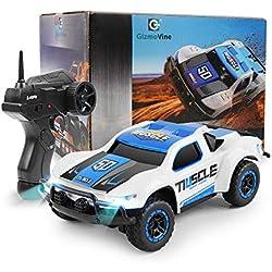 E T Ferngesteuertes Auto, 1/43 Maßstab High Speed Ferngesteuertes Auto 4WD 2,4 GHz Mini RC Auto Elektro-Rennwagen Funkgesteuertes Fahrzeug für Innen und Außen (weiß Blau)