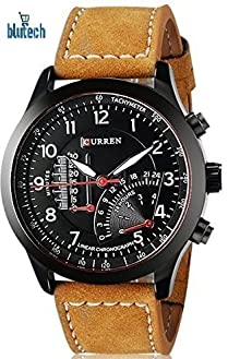 4124d9868438 BLUTECH™ 2017 New Collection Curren Festive Season Special Black Round  Shapped Dial Brown Leather Strap