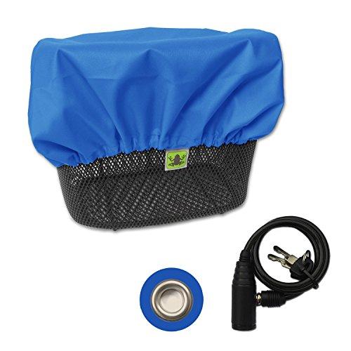 MadeForRain Sportliche, Wasserdichte Regenhülle mit Diebstahlschutz für Fahrradkörbe - CityTurtle AntiTheft - Königsblau