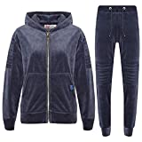 A2Z 4 Kids® Jungen Trainingsanzug Kinder Designer Plain Velour - T.S Velour 401 Grey 9-10