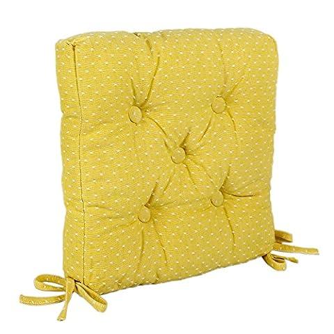 Icrafts pur coton de cuisine Assise Coussin de chaise avec attaches pour éviter les coulissante Jaune carré Galette de chaise, chaise de bureau Pad de voiture, Coussin de tabouret avec housse en coton (40x 40) cm