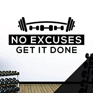 No Excuses. Get it Done - Gym Motivational Quote Wall Art Sticker [Black]